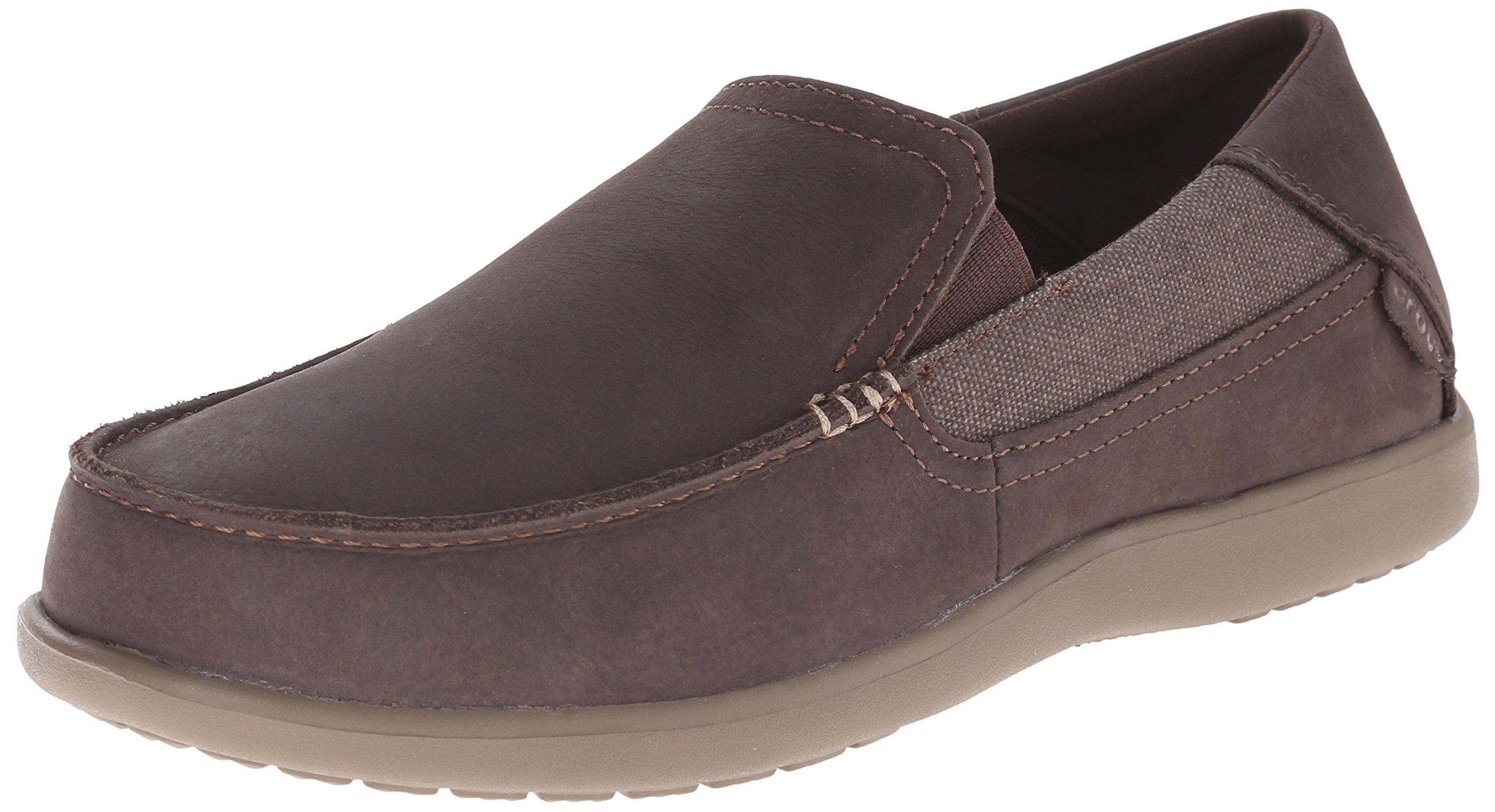 Crocs Men's Santa Cruz 2 Luxe Leather M Slip-On Loafer, Espresso/Walnut, 12 M US