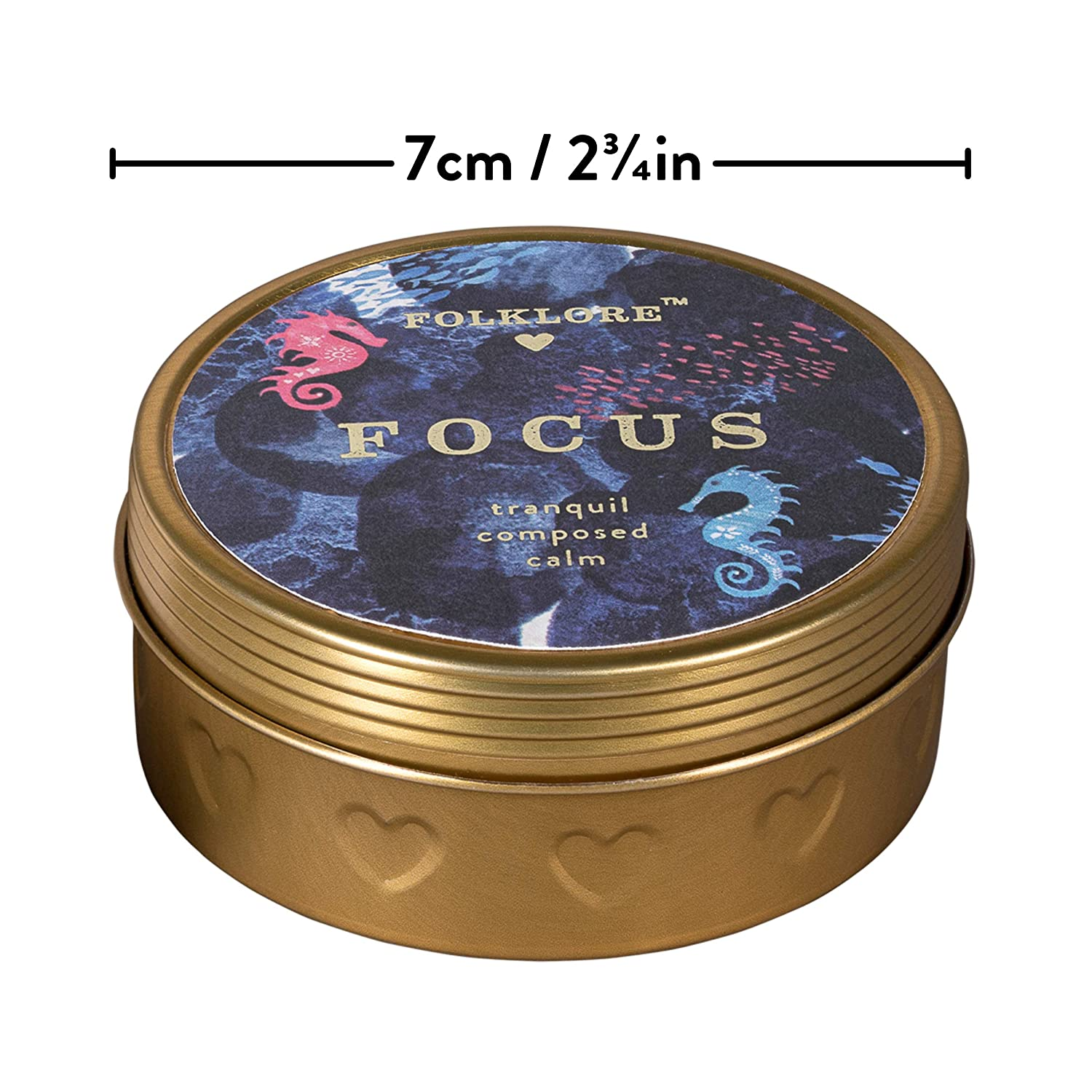 2.8 oz Gold Folklore 100/% Soy Wax Focus Rosemary /& Mint Scented Travel Candle with Tin
