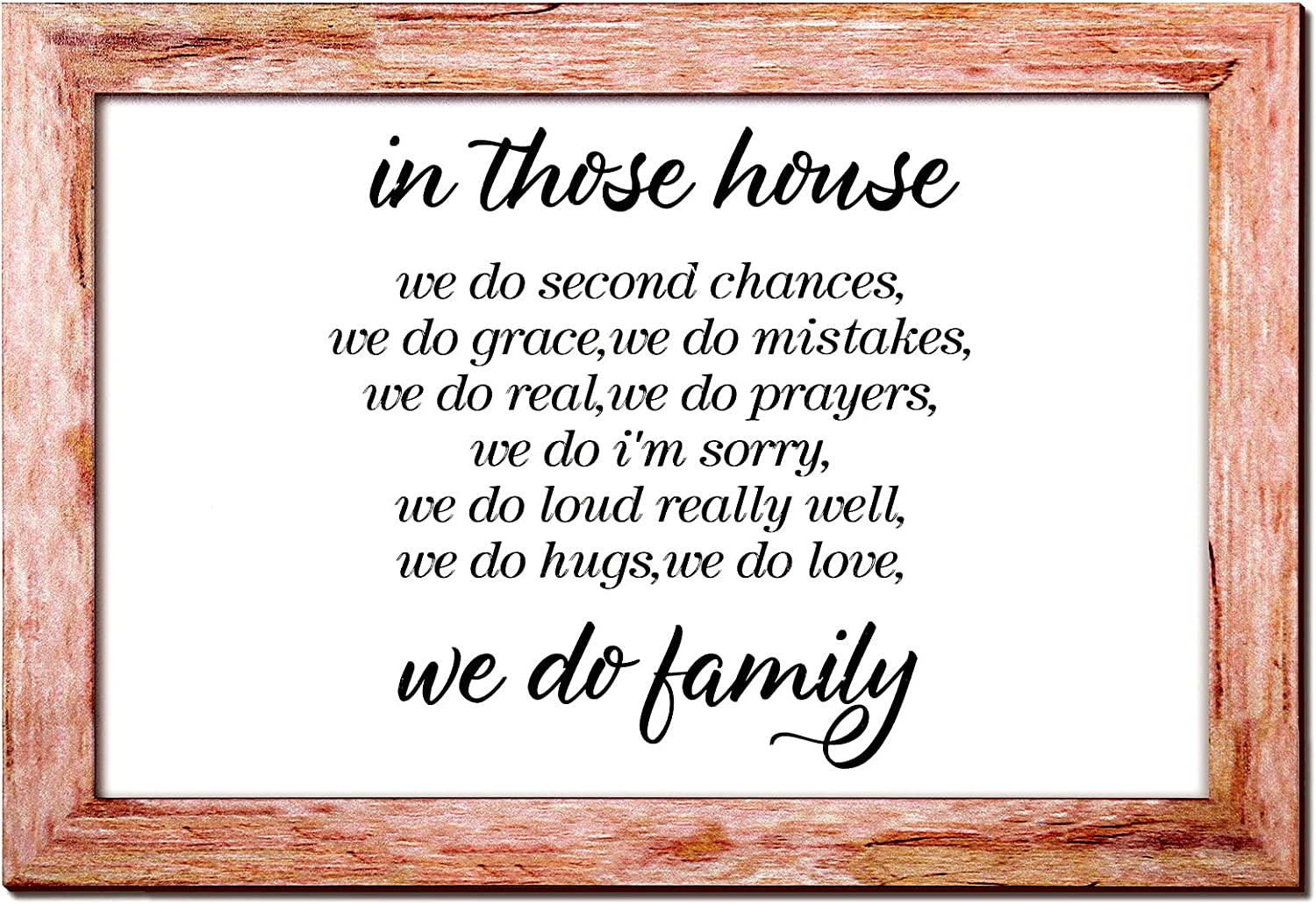 Jetec in This House We Do Family Sign Family Framed Rustic Wood Farmhouse Wall Sign Home Sign Wall Decorations Modern Farmhouse Sign with Solid Wood Frame for Living Room, 14 x 9.6 Inch