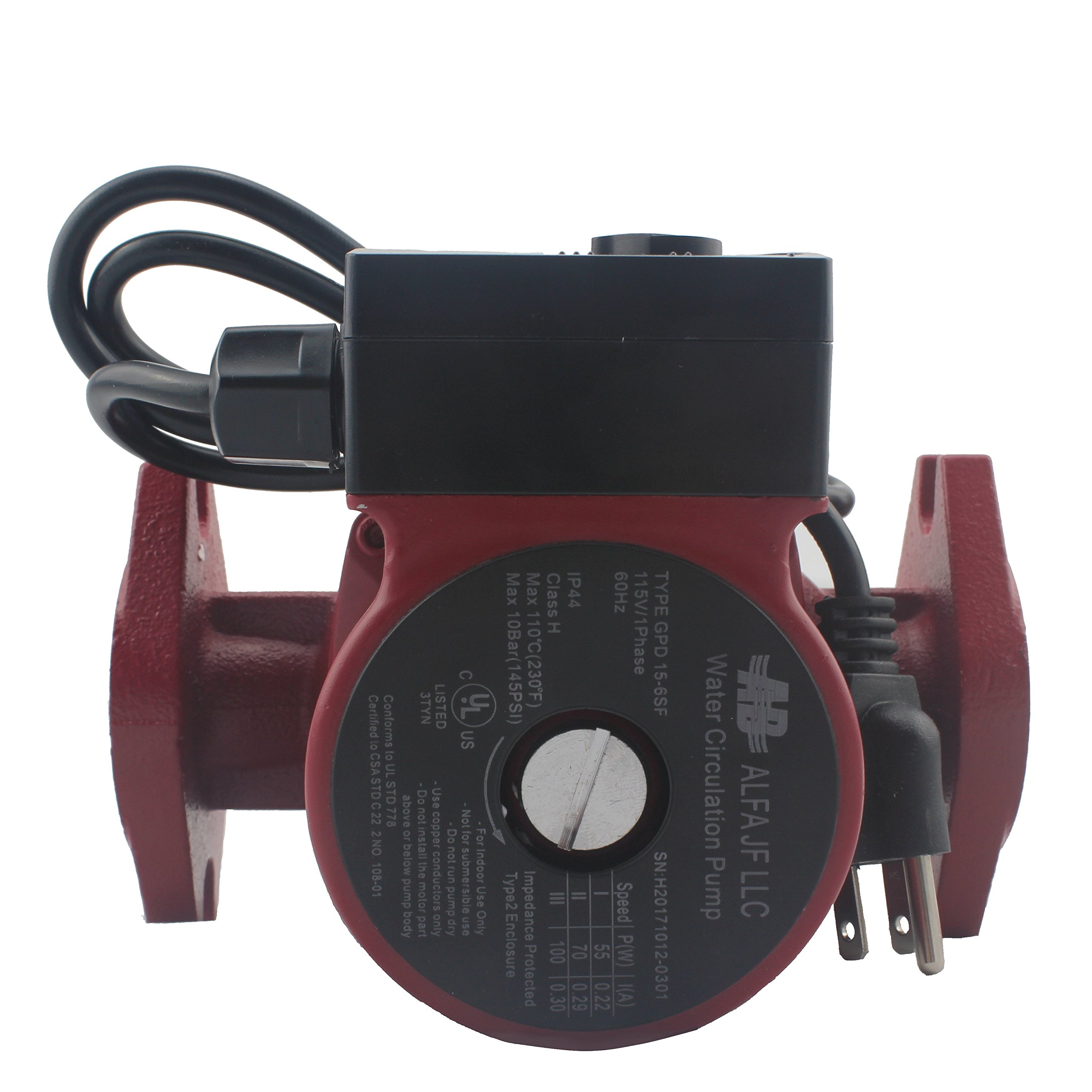 WiseWater Circulation/Circulating Pump with Internal Threaded Flanges - Up to 19.7 Feet Head Range, 3 Speed Switchable for Hydronic Radiant Heating and Plumbing by AB (Image #1)