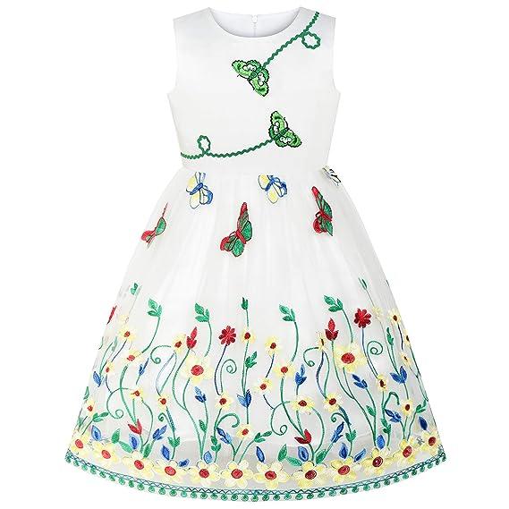 Sunny Fashion Vestido para niña Mariposa Flor Fiesta ...