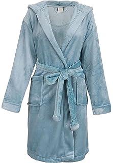 BURKLETT Womens Robe Luxurious Hooded Flannel Fleece Short Bath Robe with  Side Pockets 3249b6166