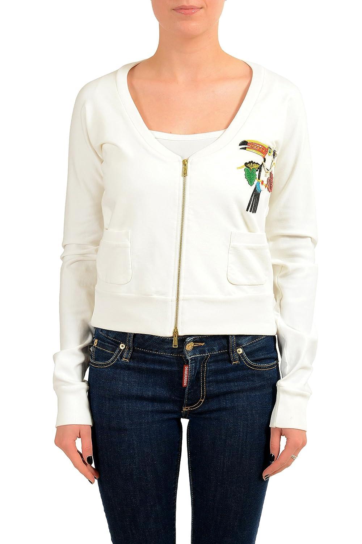 White DSQUARED2 Women's White Embellished Full Zip Track Jacket