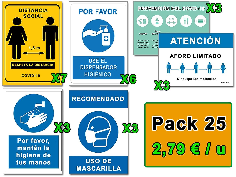Señalización COVID 19 | Mega Pack Ahorro 25 Señales Coronavirus | 7 Distancia, 6 Dispensador, 3 Mascarilla, 3 Pautas, 3 Higiene Manos, 3 Aforo | Carteles Autoinstalables | 21 x 30 cm