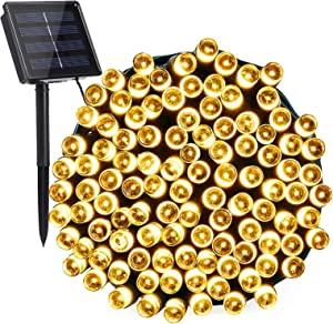 Toodour Solar String Lights, 72ft 200 LED 8 Modes Outdoor String Lights, Waterproof Solar Fairy Lights for Garden, Patio, Fence, Holiday, Party, Balcony Decorations (Warm White)