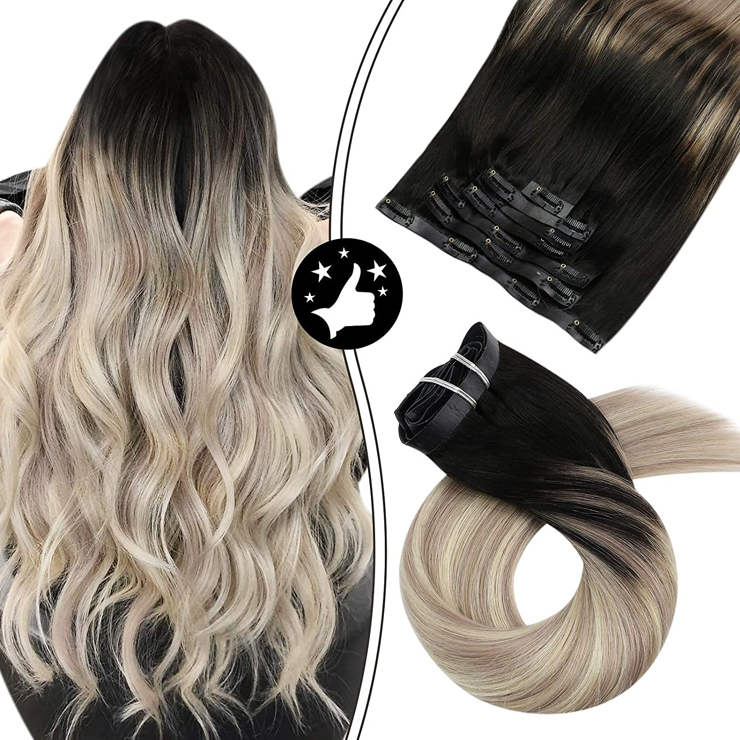 Cheap mail order shopping Moresoo Black Ombre Clip in Hair Ranking TOP5 18 Inch Extensions Hai Seamless