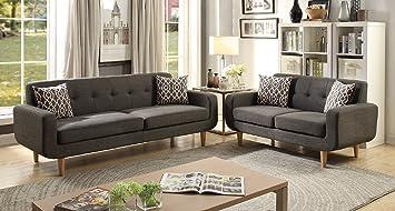 Stupendous Amazon Com Major Q Pxf906524 Modern Ash Black Tufted 2 Pcs Lamtechconsult Wood Chair Design Ideas Lamtechconsultcom