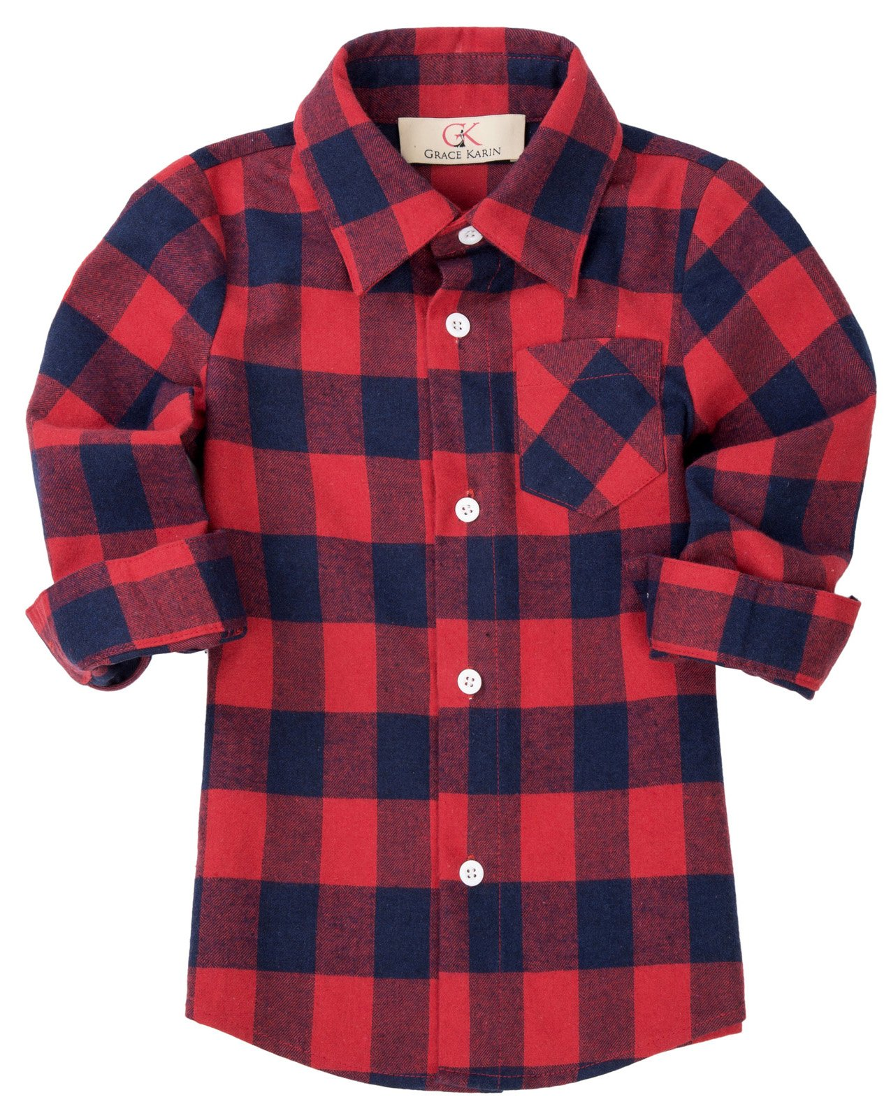 GRACE KARIN Boys Long Sleeve Lapel Casual Shirt with Pocket ,7-9yrs,Red