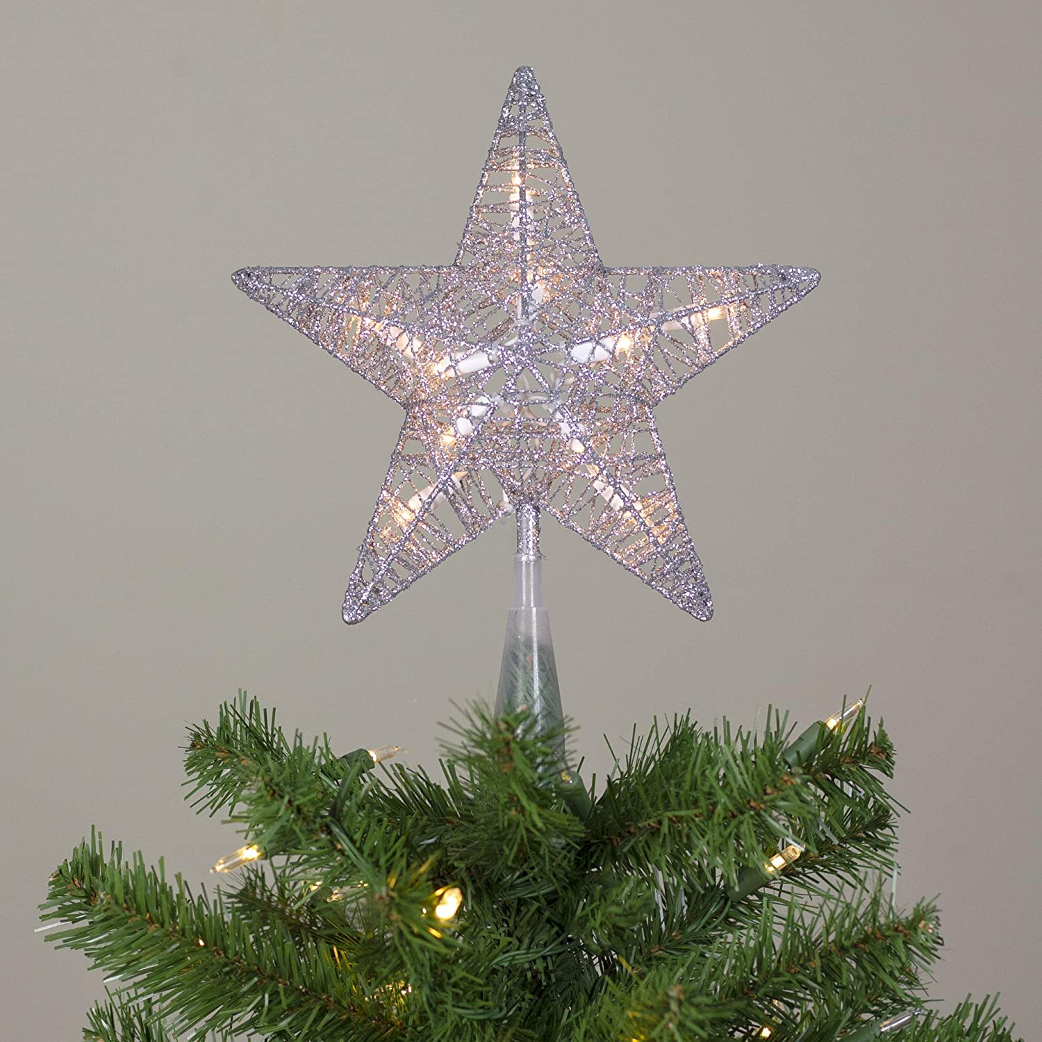Northlight 9.5 Lighted Silver Star Christmas Tree Topper Clear Lights