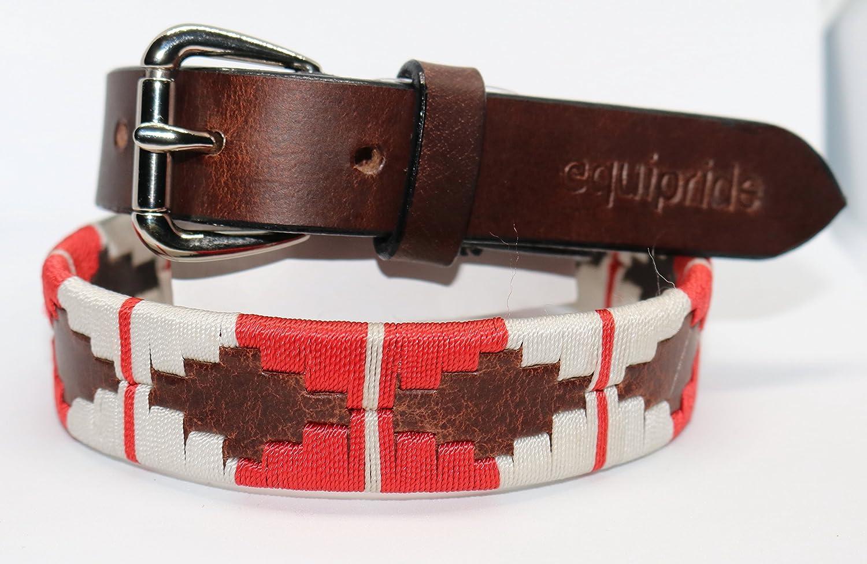 Equipride Argentinian - Cinturón Polo (100% Piel), Color Rojo y ...