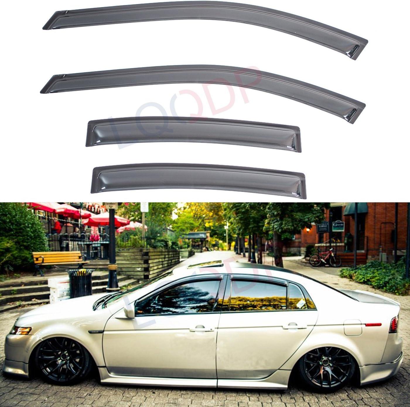 JDM Window Visor Deflector Out-Channel Light Tinted 4pc For Chrysler Aspen 07-10