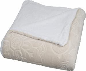 Bedford Home Floral Etched Fleece Blanket with Sherpa, Full/Queen, Vanilla