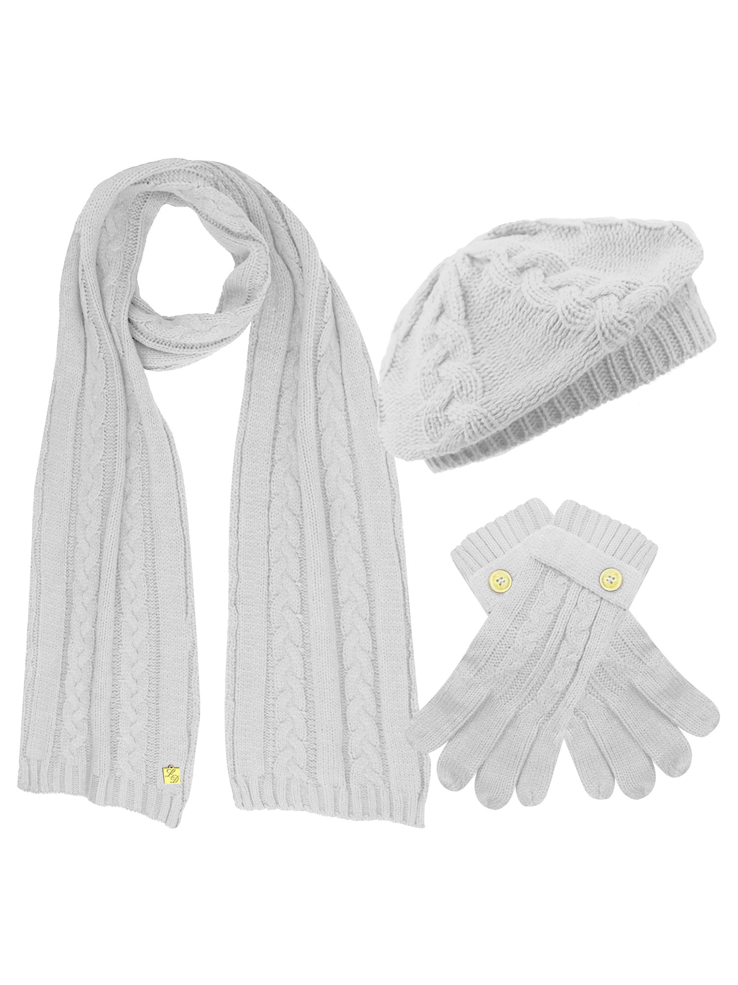 Ivory White Cable Knit Beret Hat Scarf & Glove Matching 3 Piece Set Set