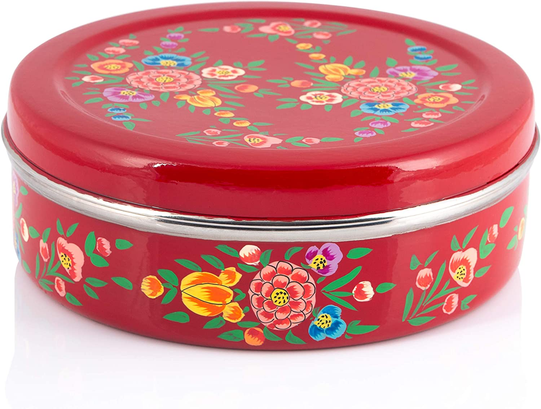 Indian-Tiffin Masala Dabba - Contenedor hermético para especias (7 ollas)