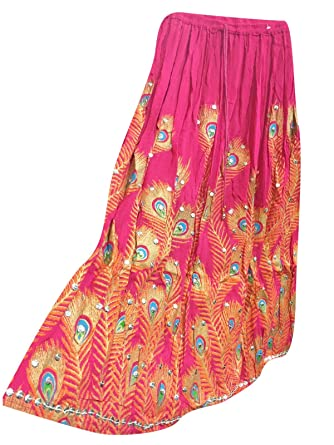 03d84d1e1b Mogul Interior Womens Skirts Pink Peacock Sequin Embroidered Bohemian Long  Maxi Skirt  Amazon.co.uk  Clothing