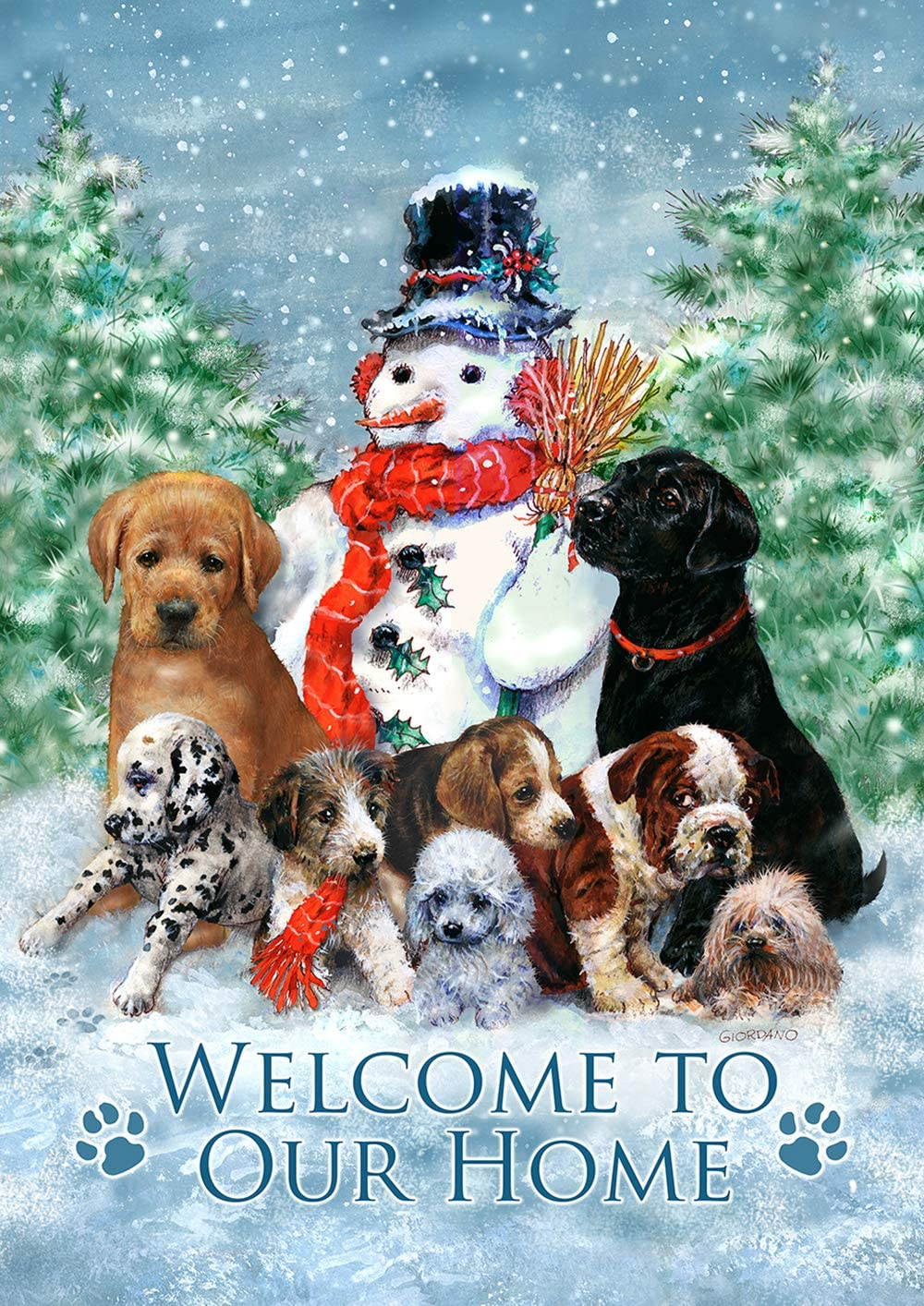"""Toland Home Garden 1012255 Snowman with Pups House Flag (28 x 40-Inch), (28"""" x 40""""), Multi"""
