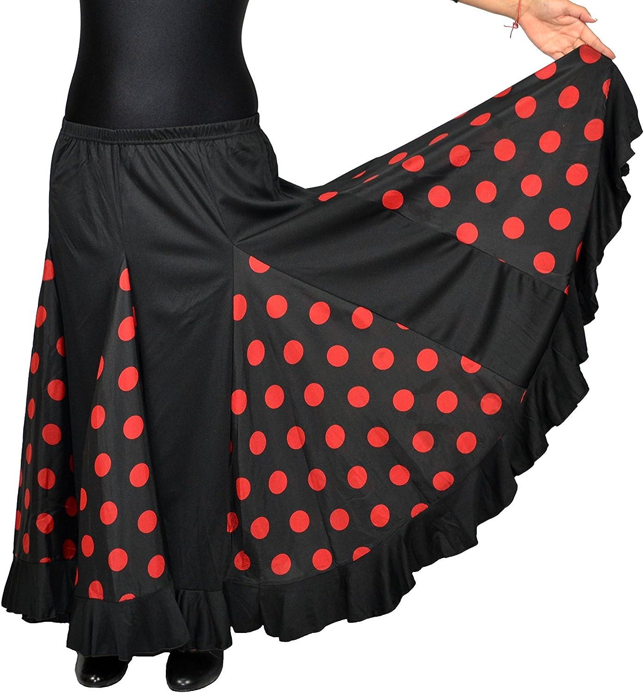 Falda de flamenco para mujer, color negro con lunares rojos ...