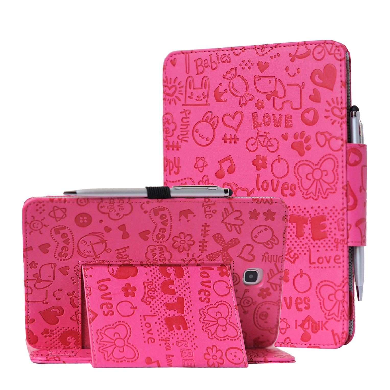 i-UniK Samsung Galaxy TAB A 8.0 inch Compatible SM-T350 case Slim Folio Case w/Auto Sleep Awake [Bonus Stylus] (Cute Pink)