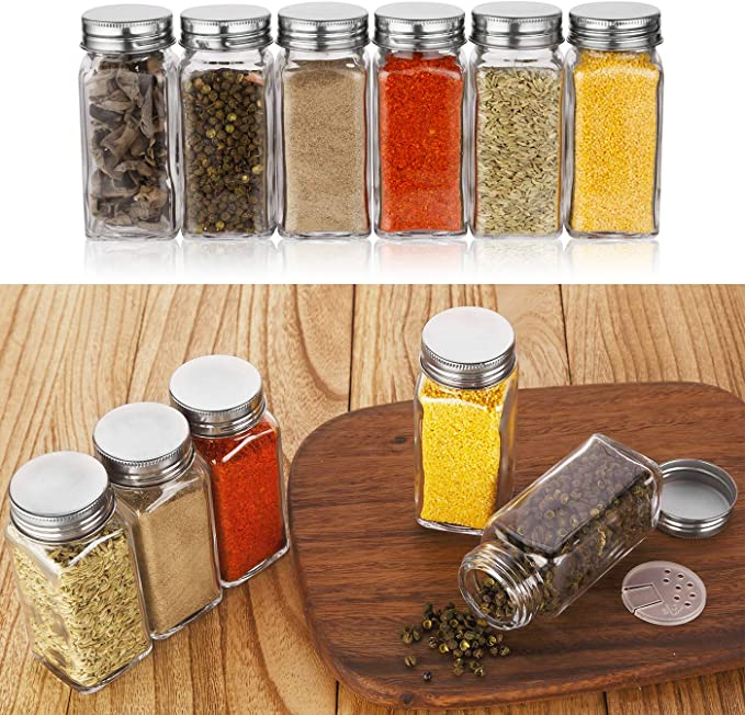 Amazon.com | Aozita 36 Pcs Glass Spice Jars with 612 Spice Labels - 4oz Empty Square Spice Bottles - Shaker Lids and Airtight Metal Caps - Chalk Marker and Silicone Collapsible Funnel Included: Condiment Pots