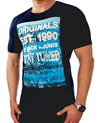 JACK & JONES Herren T-Shirt jorFASTER 16 Tee Fotoprint Aufdruck Slim Fit  (S, Blau (Navy Blazer Fit:SLIM)): Amazon.de: Bekleidung