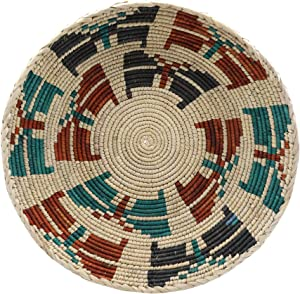 Ge Ylva Art Home NB008 Butterfly Dream Boho Decor Wicker Plate Woven Basket Hanging Wall Decoration Bowl Product Made of 100% Natural Materials Containing Ethnic Art Elements Organic Paint 14.38'x2.7'