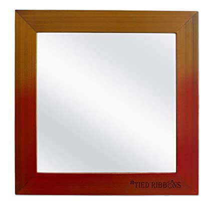 TIED RIBBONS Decorative Mirrors for Wall in Living Room, Bedroom Basin Bathroom (37.5 cm x 37.5 cm, Wooden Frame)