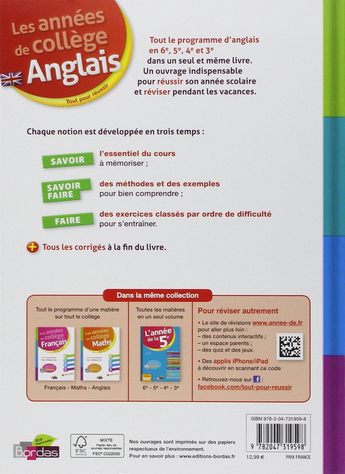 Amazon Fr Les Annees De College Anglais Collectif Livres