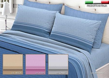 Lenzuola Matrimoniali Azzurre.Completo Lenzuola Di Flanella In 2 Misure Prodotto In Italia 100