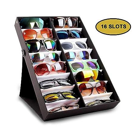 a2044b0e17 Sunglasses Display Case - 16 Slots Sunglass Storage Rack - Eyewear  Organiser Eyeglasses Folding Stand Tray