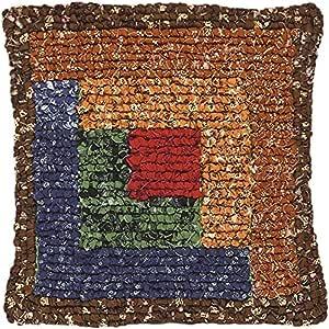 M C G Textiles Quilt Mates Locker Hook Pillow Kit, 11 by 11-Inch, Log Cabin