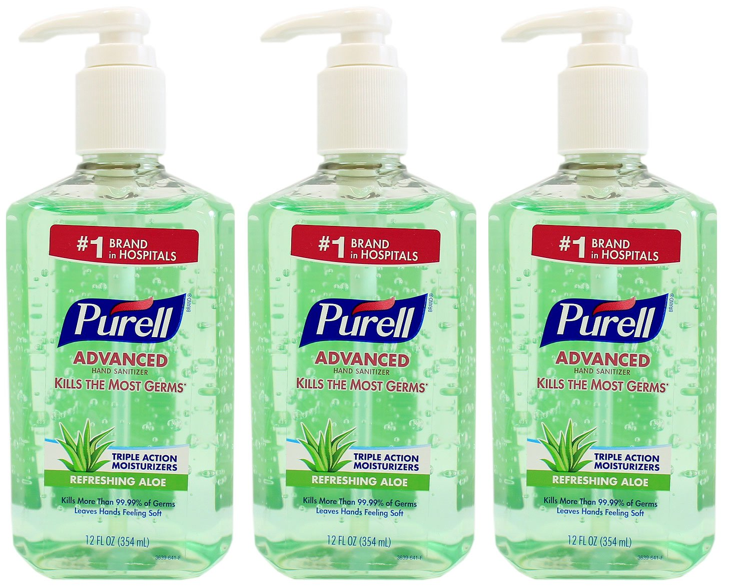 Purell Advanced Instant Hand Sanitizer with Aloe 12 oz Bottle - Pack of 3