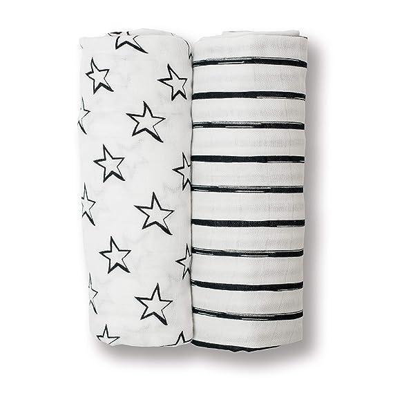 Black//White Loops /& Arrows 40 x 40-Inch Lulujo Baby Set of 2 Cotton Muslin Swaddle Blankets