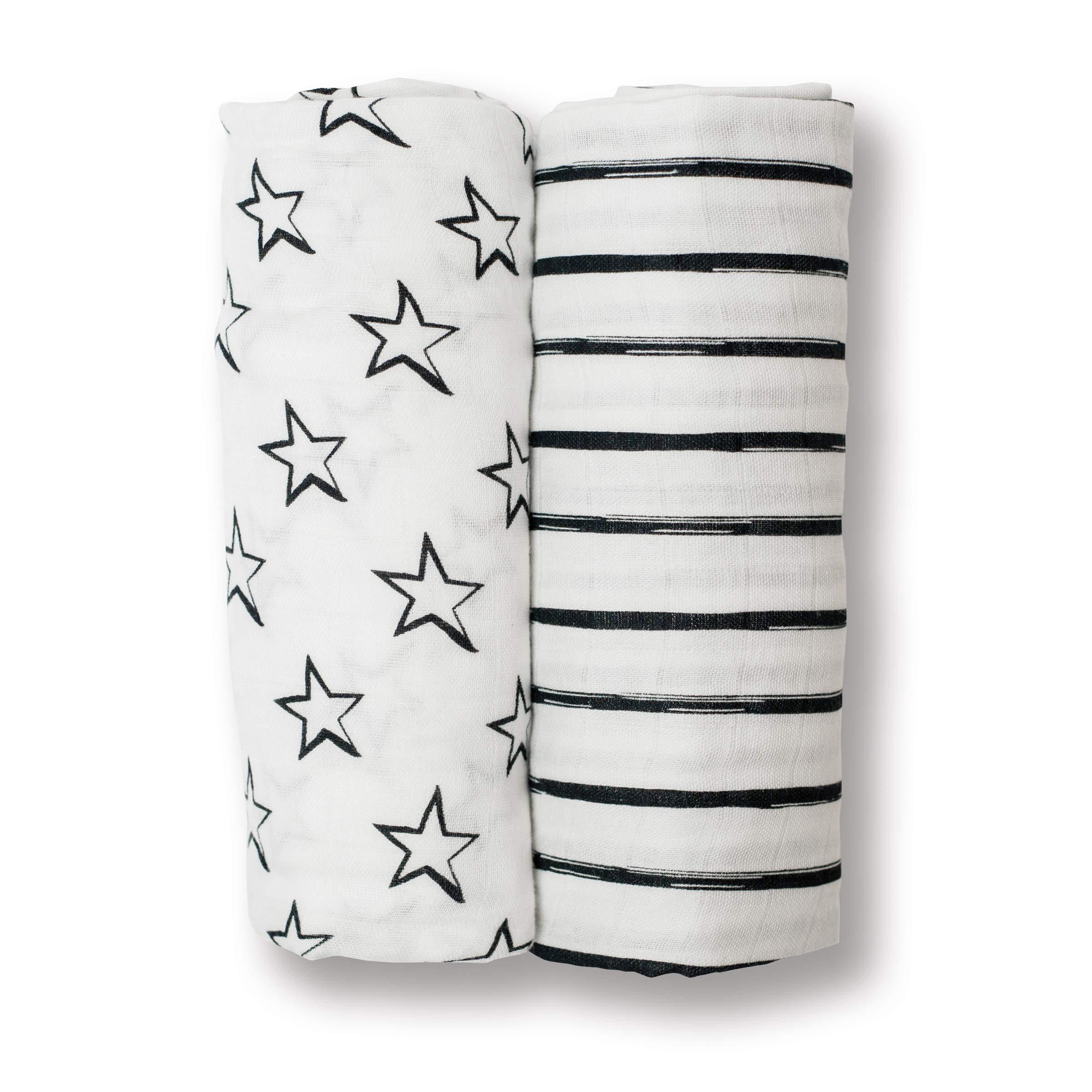 lulujo Baby 2 Piece Cotton Muslin Swaddling Blankets, Black/White Stars & Stripes