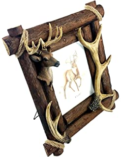 Amazoncom Burton Deer Antler Picture Frame On Bark Home Kitchen