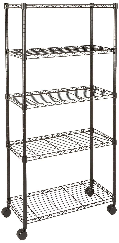 AmazonBasics 3-Shelf Shelving Unit on Wheels - Black SL-SUAM-118