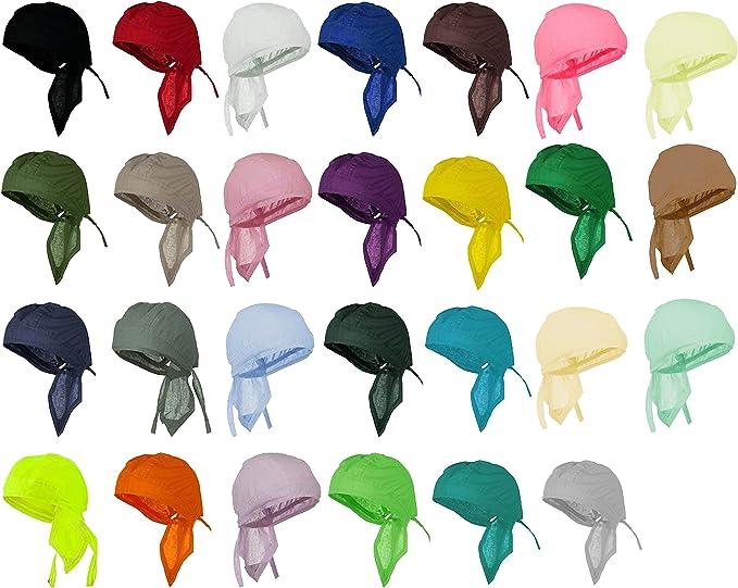 Bandana Motorcycle Skull Cap for Men Women Chemo Dorag Hat Blue Doo Rag with SWEATBAND