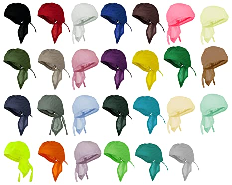 87101228fcb Image Unavailable. Image not available for. Color  Assorted Skull Caps 12  Piece Cotton Chemo Bandana Headwraps Men Women Doo Rags