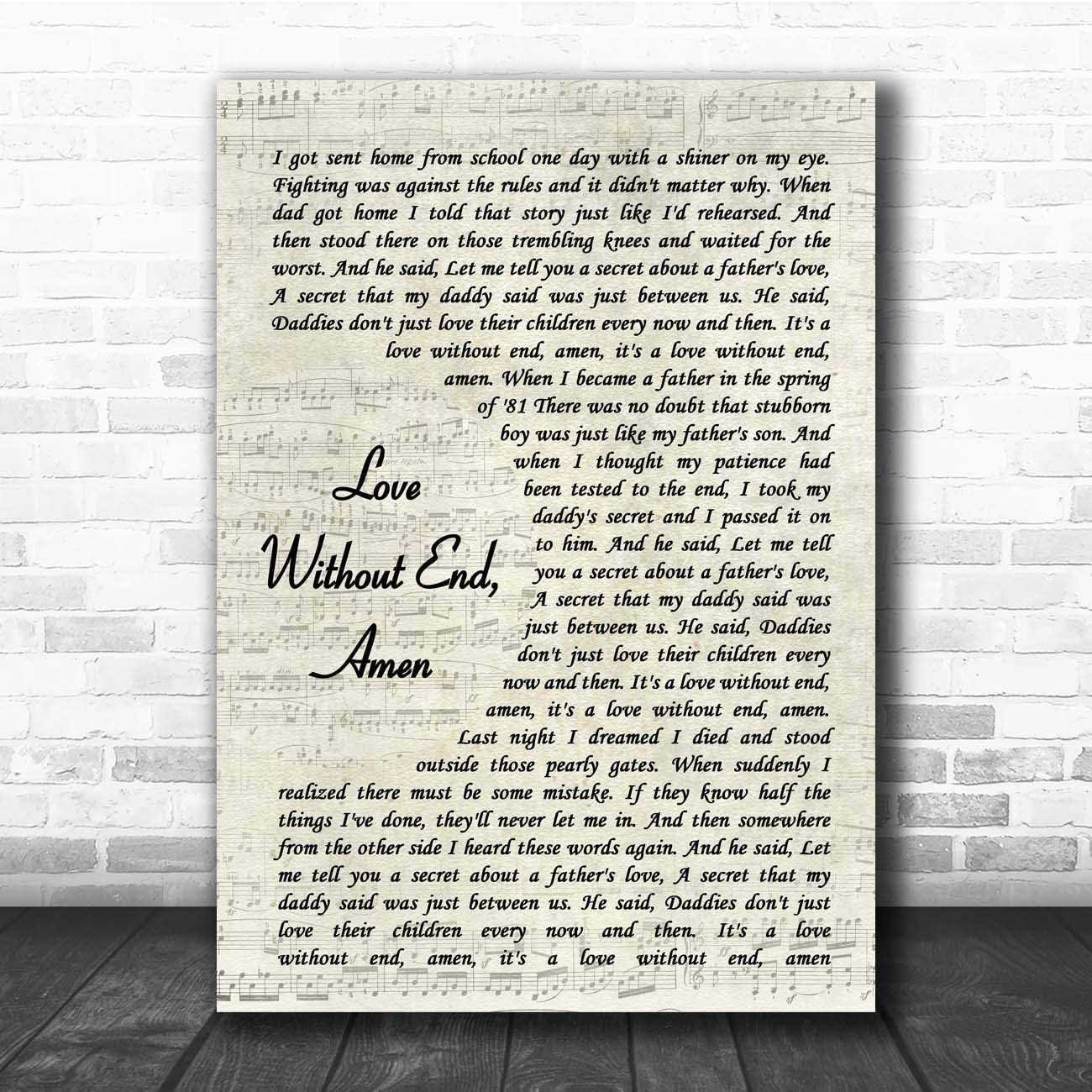 Love Without End, Amen Vintage Script Song Lyric Print