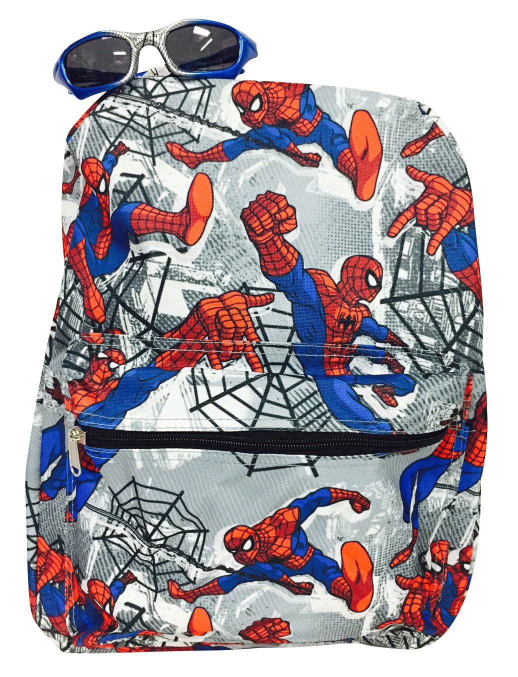 Colorful Items 16'' Full Print Super Heroes Spider-Man Backpack and One Stylish Sunglasses Set