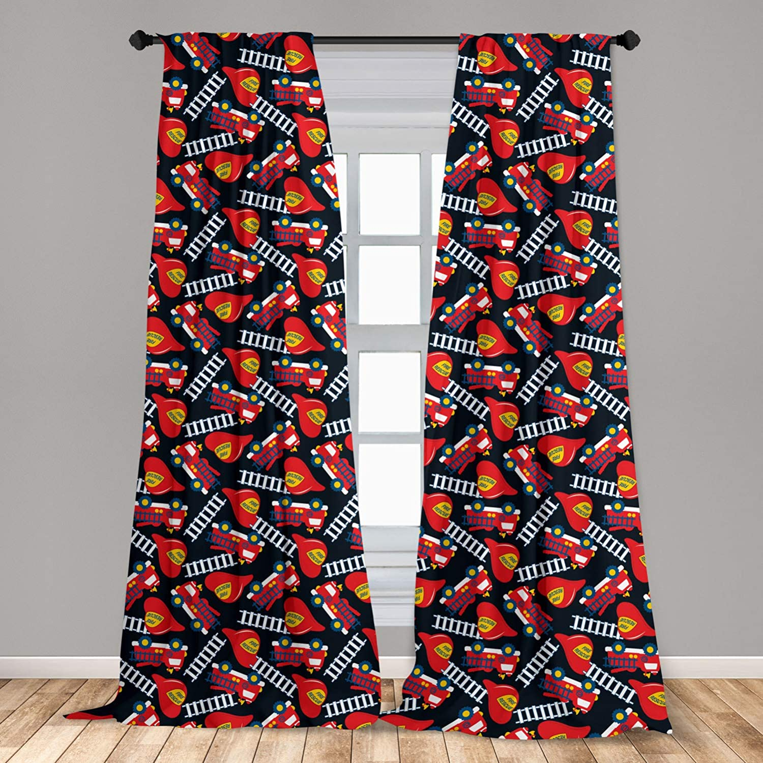 Lunarable Fire Truck 2 Panel Curtain Set, Service Rescue Inscription Ladders and Toy Vehicles Kids Cartoon, Lightweight Window Treatment Living Room Bedroom Decor, 56