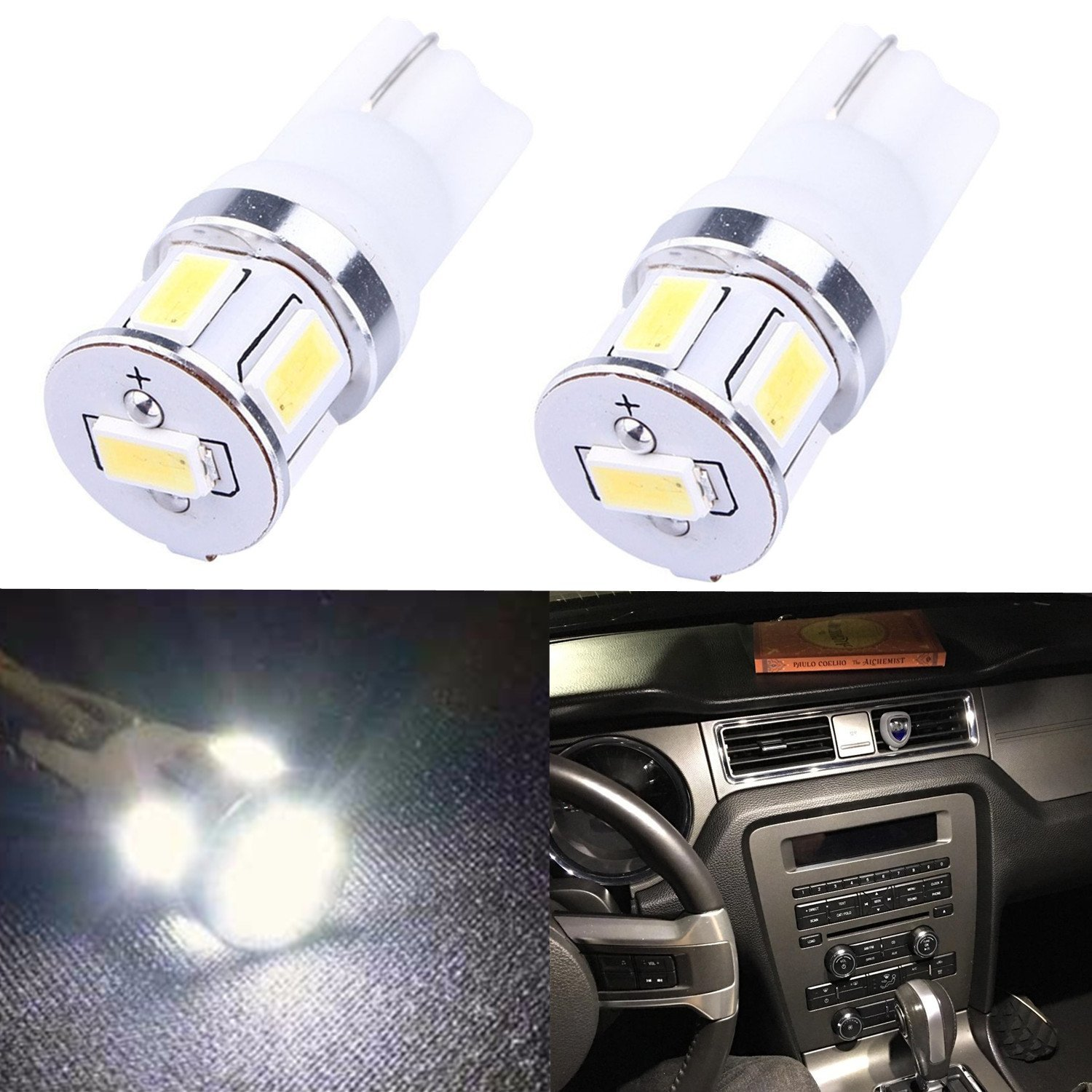 Alla Lighting T10 Wedge 194 168 2825 W5W Super Bright White High Power 5730 SMD LED Lights Bulbs