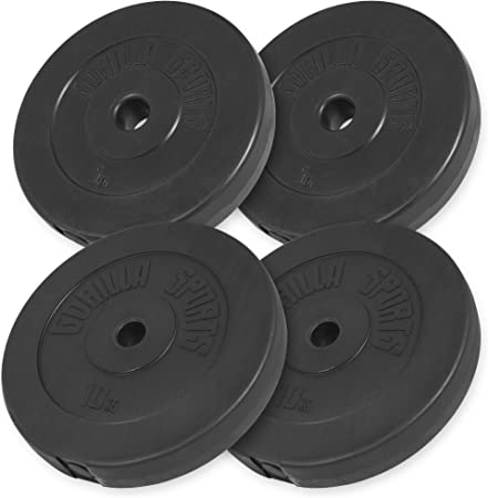 Gorilla Sports Vinyl Weight Plate Set 2x 5kg 2x 10kg Amazon Co Uk Sports Outdoors