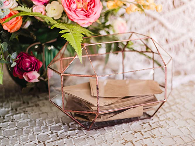 Amazon Com Clear Card Box Large Glass Geometric Wedding Card Box