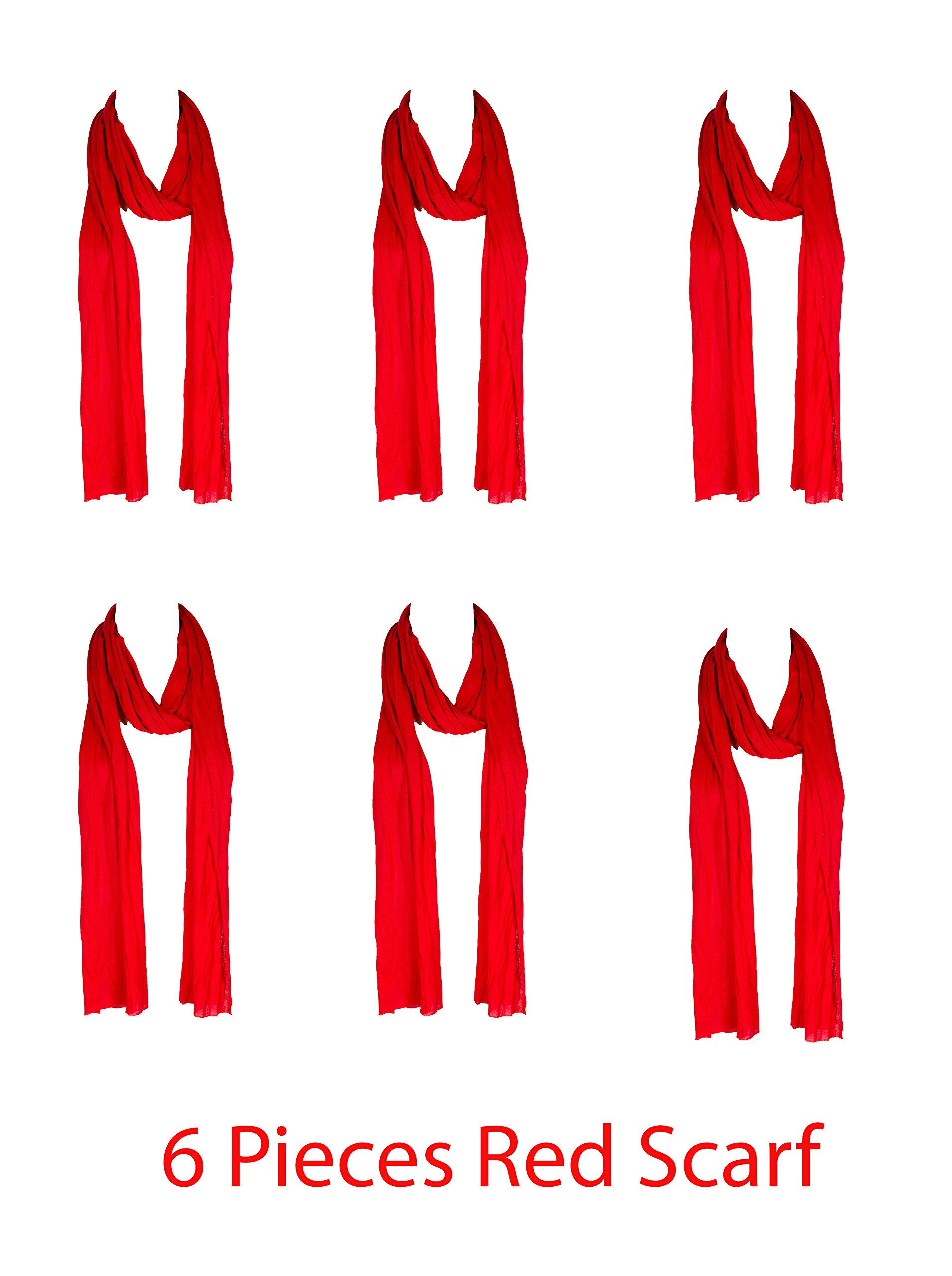 6 Pieces Christmas Red Plain Scarf