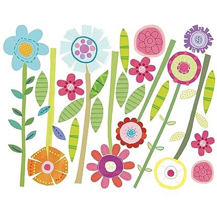 Amazon.com: Wallies Wall Decals, Green Garden Flower Wall Stickers ...