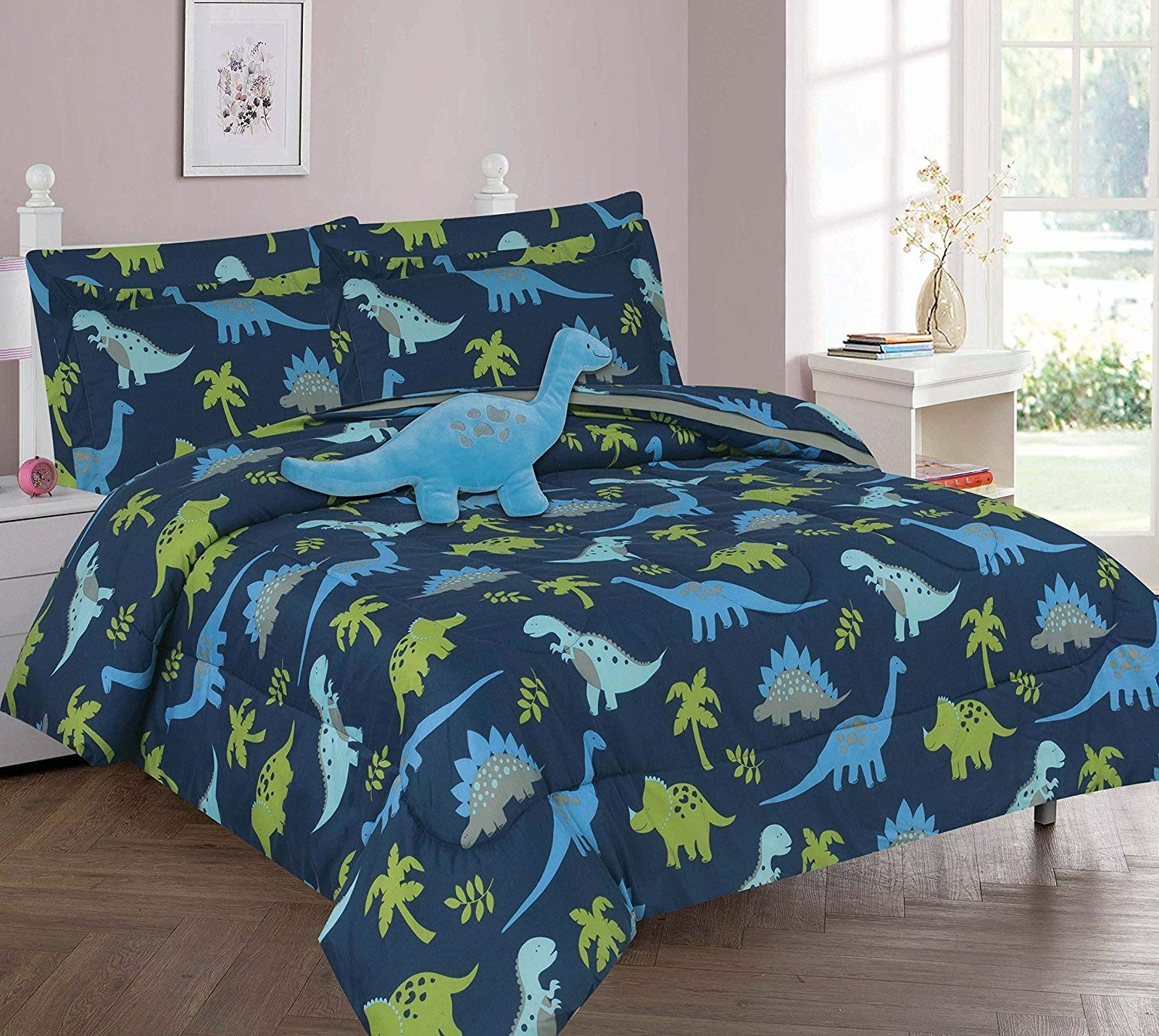 Golden Linens one Piece Kids Window Valance Printed Blue and Lime Green Dinosaur Microfiber # Blue Dinosaur Valance GoldenLinens