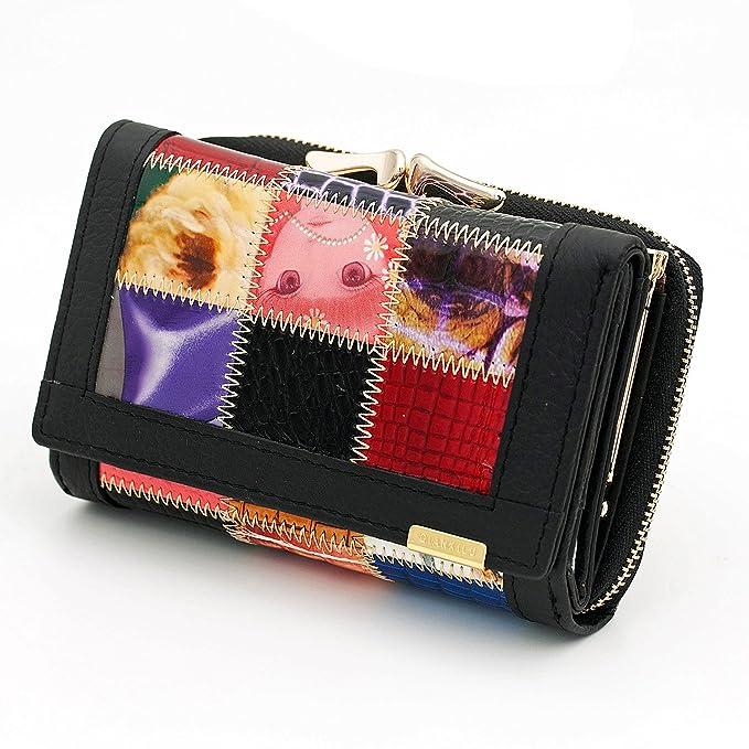 Las mujeres de piel auténtica Monedero Patchwork moneda bolsillo embrague Mini bolso cartera: Amazon.es: Ropa y accesorios