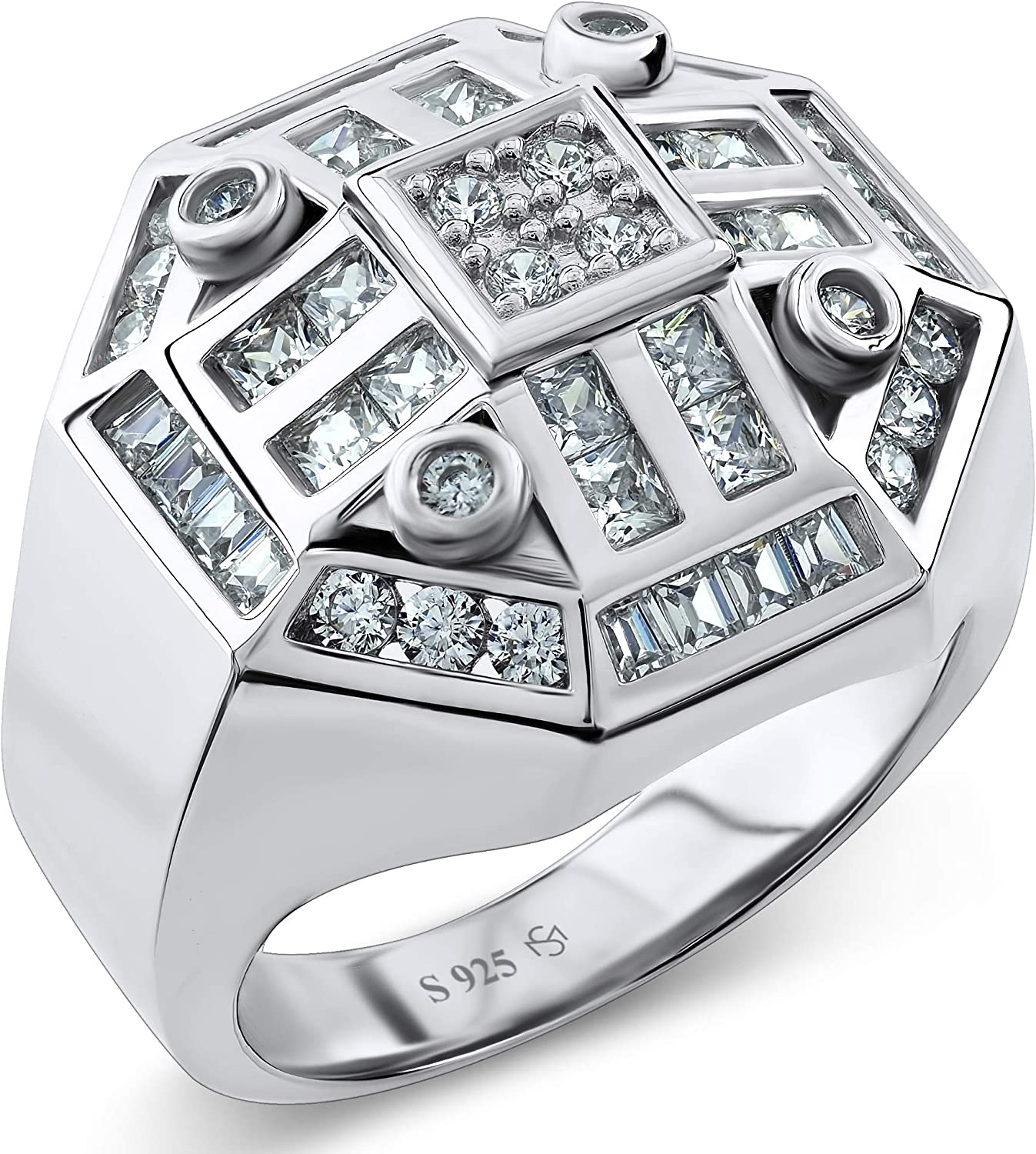 [2-5 Days Delivery] Men's Sterling Silver .925 Octagon Ring Featuring 52 White Round Square and Baguette Cubic Zirconia (CZ) Stones. Hip Hop Jewelry, Bling Ring, Eye Catching Design