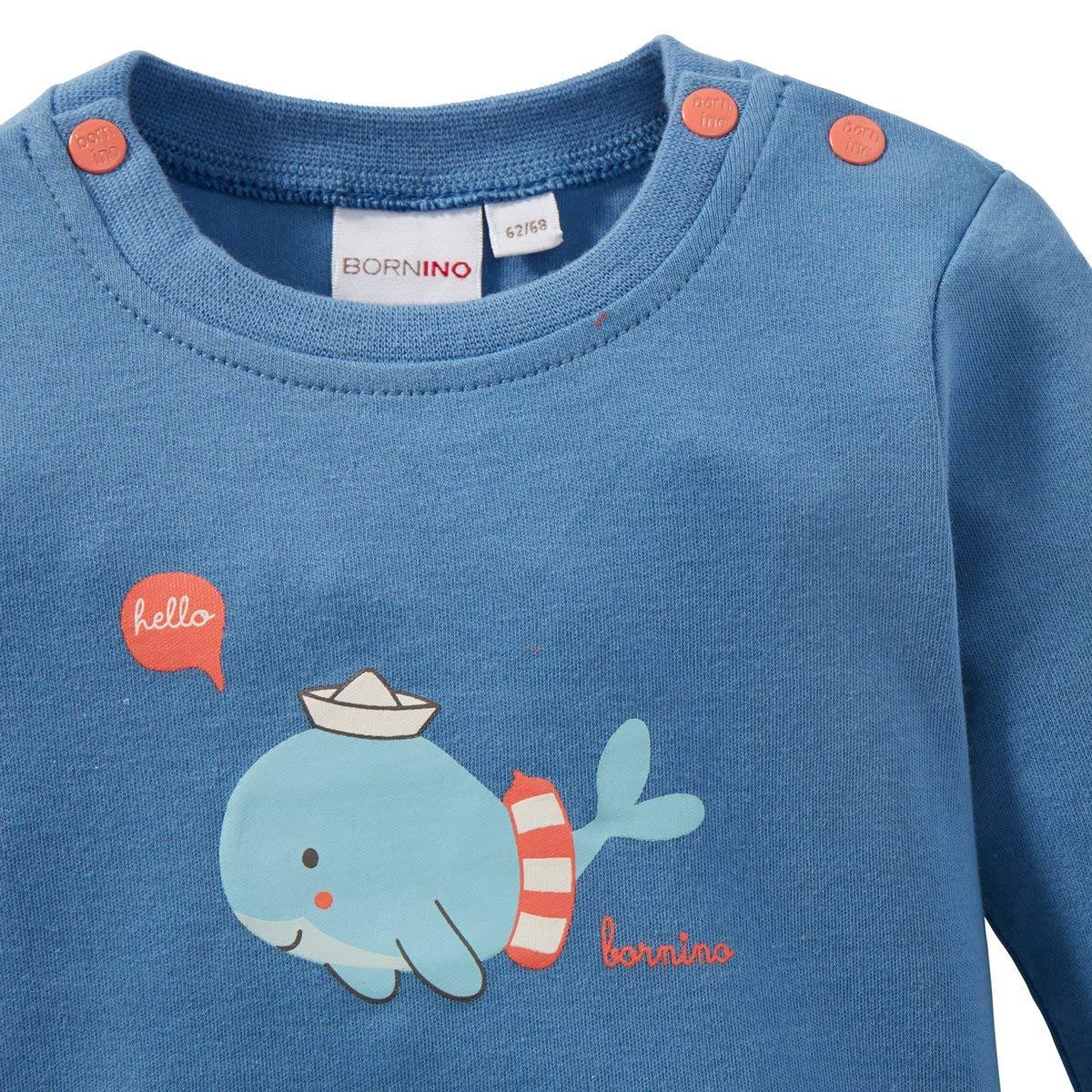 Oberteil mit Rundhalsausschnitt /& Druckkn/öpfen Bornino Seaside Shirt Langarm Wal Langarmshirt f/ür Babys mit niedlichem Tier-Print blau