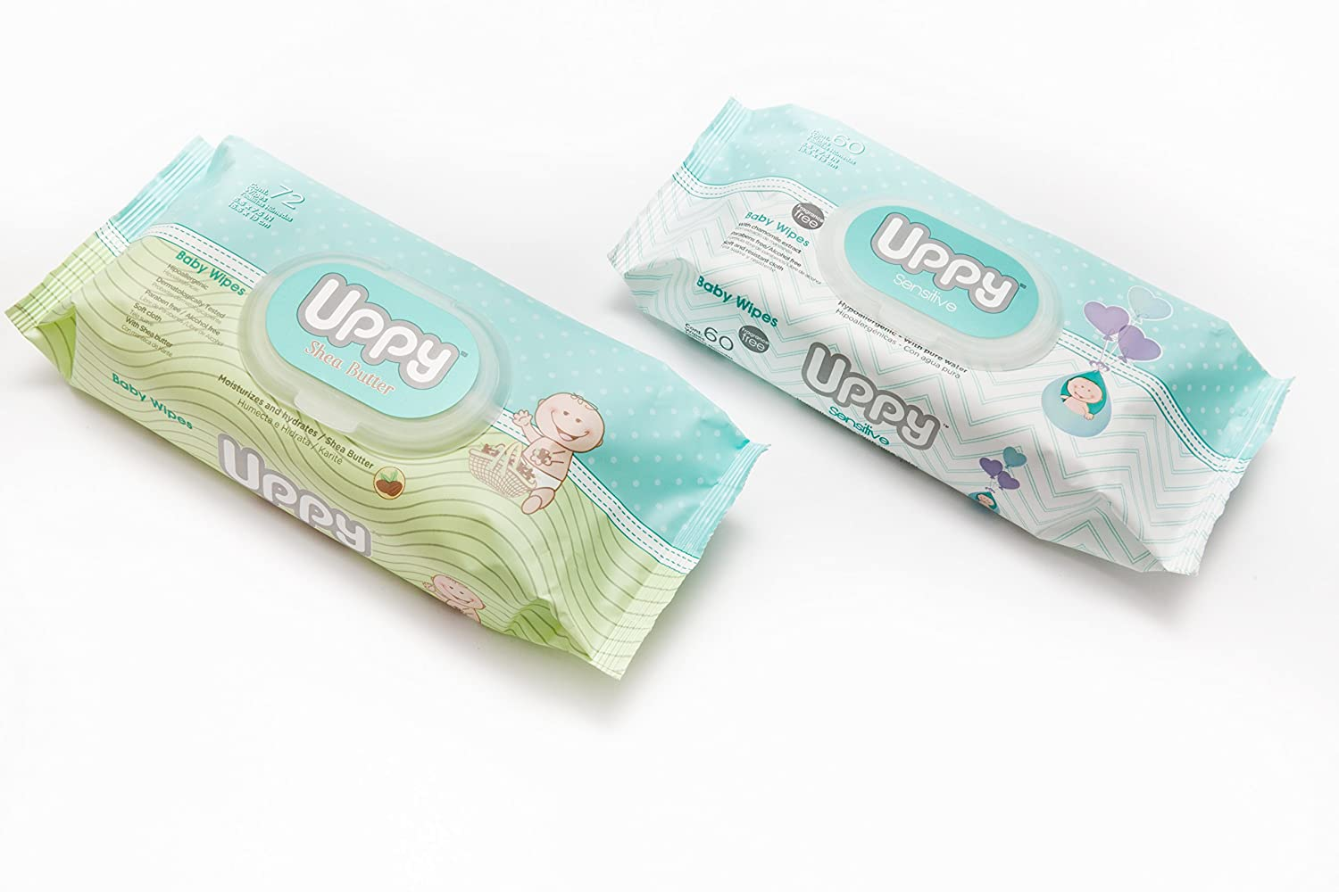 Amazon.com : UPPY Sensitive Baby Wipes - Ideal for Diaper Bag and Traveling. Made With Purified Water. Pleasant Shea Butter Scent. Soft Cloth.